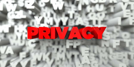 sentence typescript: PRIVACY -  Red text on typography background - 3D rendered royalty free stock image. This image can be used for an online website banner ad or a print postcard.
