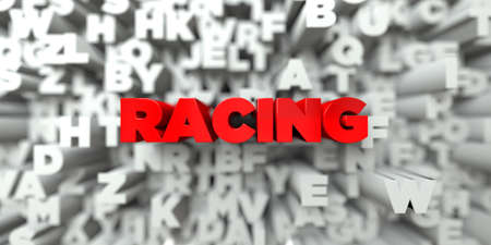 stock image: RACING -  Red text on typography background - 3D rendered royalty free stock image. This image can be used for an online website banner ad or a print postcard. Stock Photo
