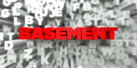 basement: BASEMENT -  Red text on typography background - 3D rendered royalty free stock image. This image can be used for an online website banner ad or a print postcard.