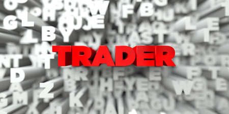 stock trader: TRADER -  Red text on typography background - 3D rendered royalty free stock image. This image can be used for an online website banner ad or a print postcard.