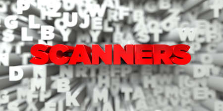 royalty: SCANNERS -  Red text on typography background - 3D rendered royalty free stock image. This image can be used for an online website banner ad or a print postcard.