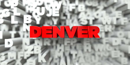 free stock: DENVER -  Red text on typography background - 3D rendered royalty free stock image. This image can be used for an online website banner ad or a print postcard.