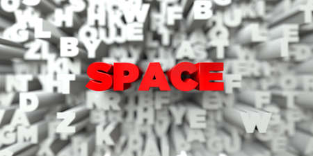 ad space: SPACE -  Red text on typography background - 3D rendered royalty free stock image. This image can be used for an online website banner ad or a print postcard.