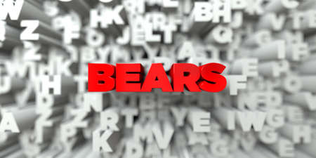 royalty: BEARS -  Red text on typography background - 3D rendered royalty free stock image. This image can be used for an online website banner ad or a print postcard.