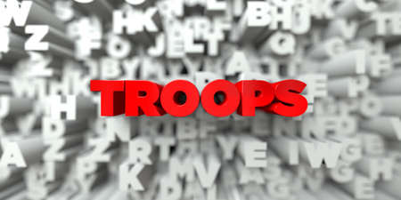 TROOPS -  Red text on typography background - 3D rendered royalty free stock image. This image can be used for an online website banner ad or a print postcard.