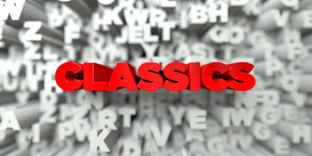 CLASSICS -  Red text on typography background - 3D rendered royalty free stock image. This image can be used for an online website banner ad or a print postcard. Stock Photo