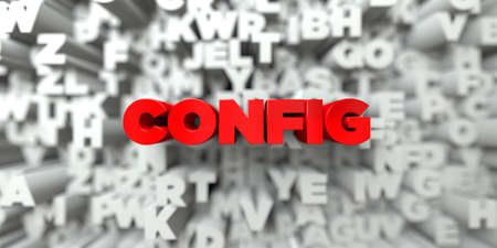 config: CONFIG -  Red text on typography background - 3D rendered royalty free stock image. This image can be used for an online website banner ad or a print postcard. Stock Photo