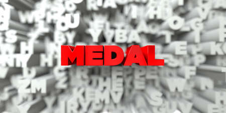 MEDAL -  Red text on typography background - 3D rendered royalty free stock image. This image can be used for an online website banner ad or a print postcard.