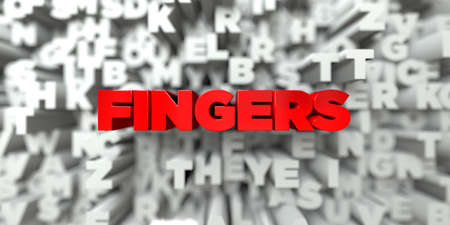 royalty: FINGERS -  Red text on typography background - 3D rendered royalty free stock image. This image can be used for an online website banner ad or a print postcard. Stock Photo