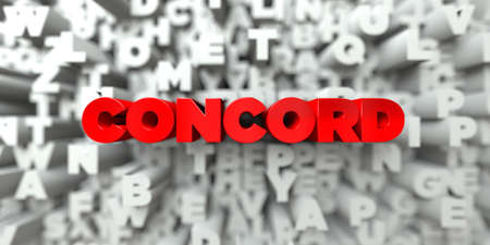 concord: CONCORD -  Red text on typography background - 3D rendered royalty free stock image. This image can be used for an online website banner ad or a print postcard.