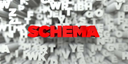 SCHEMA -  Red text on typography background - 3D rendered royalty free stock image. This image can be used for an online website banner ad or a print postcard. Stock Photo - 66741551
