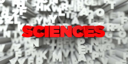 SCIENCES -  Red text on typography background - 3D rendered royalty free stock image. This image can be used for an online website banner ad or a print postcard.