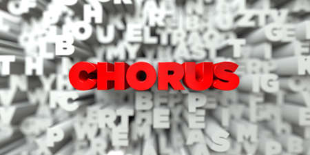 chorus: CHORUS -  Red text on typography background - 3D rendered royalty free stock image. This image can be used for an online website banner ad or a print postcard.