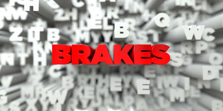stock image: BRAKES -  Red text on typography background - 3D rendered royalty free stock image. This image can be used for an online website banner ad or a print postcard.