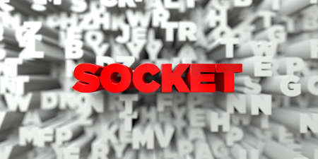free stock: SOCKET -  Red text on typography background - 3D rendered royalty free stock image. This image can be used for an online website banner ad or a print postcard. Stock Photo