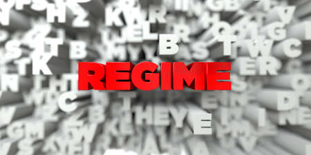 regime: REGIME -  Red text on typography background - 3D rendered royalty free stock image. This image can be used for an online website banner ad or a print postcard.
