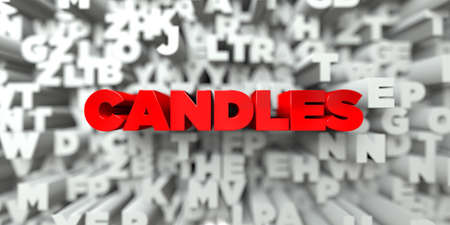 sentence typescript: CANDLES -  Red text on typography background - 3D rendered royalty free stock image. This image can be used for an online website banner ad or a print postcard. Stock Photo