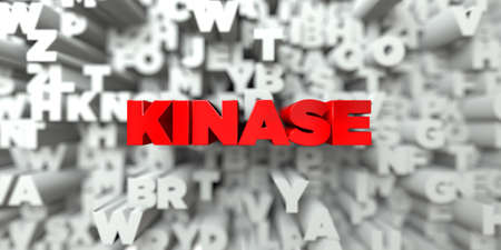 kinase: KINASE -  Red text on typography background - 3D rendered royalty free stock image. This image can be used for an online website banner ad or a print postcard.