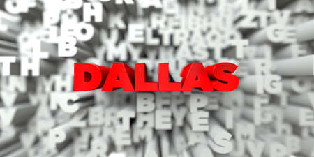 sentence typescript: DALLAS -  Red text on typography background - 3D rendered royalty free stock image. This image can be used for an online website banner ad or a print postcard. Stock Photo