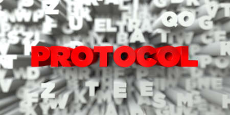 protocol: PROTOCOL -  Red text on typography background - 3D rendered royalty free stock image. This image can be used for an online website banner ad or a print postcard. Stock Photo