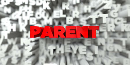 PARENT -  Red text on typography background - 3D rendered royalty free stock image. This image can be used for an online website banner ad or a print postcard.