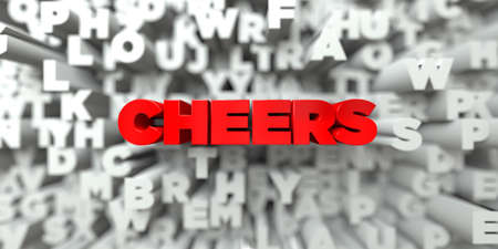 stock image: CHEERS -  Red text on typography background - 3D rendered royalty free stock image. This image can be used for an online website banner ad or a print postcard.