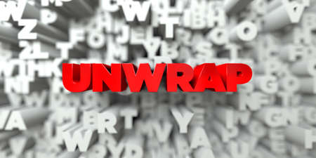 stock image: UNWRAP -  Red text on typography background - 3D rendered royalty free stock image. This image can be used for an online website banner ad or a print postcard. Stock Photo