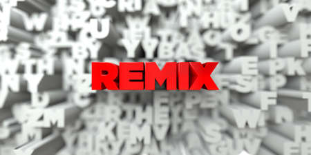 remix: REMIX -  Red text on typography background - 3D rendered royalty free stock image. This image can be used for an online website banner ad or a print postcard. Stock Photo