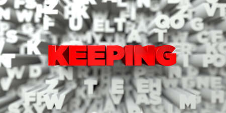KEEPING -  Red text on typography background - 3D rendered royalty free stock image. This image can be used for an online website banner ad or a print postcard. Stock Photo