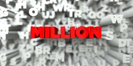 MILLION -  Red text on typography background - 3D rendered royalty free stock image. This image can be used for an online website banner ad or a print postcard. Stock Photo