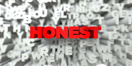 HONEST -  Red text on typography background - 3D rendered royalty free stock image. This image can be used for an online website banner ad or a print postcard. Stock Photo
