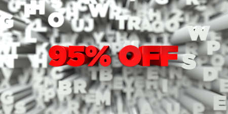 95% OFF -  Red text on typography background - 3D rendered royalty free stock image. This image can be used for an online website banner ad or a print postcard.