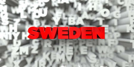 sentence typescript: SWEDEN -  Red text on typography background - 3D rendered royalty free stock image. This image can be used for an online website banner ad or a print postcard.