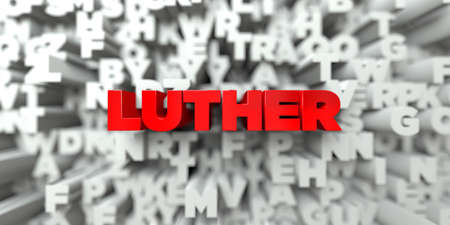 LUTHER -  Red text on typography background - 3D rendered royalty free stock image. This image can be used for an online website banner ad or a print postcard. Stock Photo