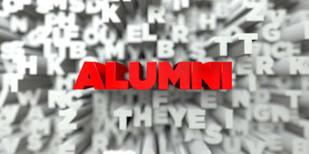 ALUMNI -  Red text on typography background - 3D rendered royalty free stock image. This image can be used for an online website banner ad or a print postcard.