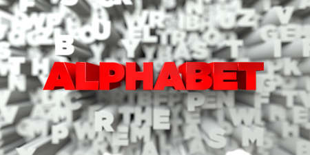 free stock: ALPHABET -  Red text on typography background - 3D rendered royalty free stock image. This image can be used for an online website banner ad or a print postcard. Stock Photo