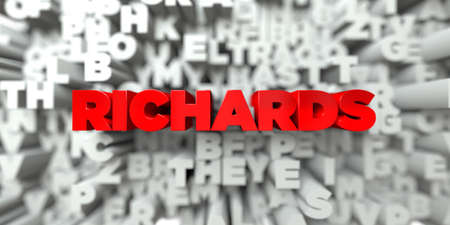 free stock: RICHARDS -  Red text on typography background - 3D rendered royalty free stock image. This image can be used for an online website banner ad or a print postcard. Stock Photo