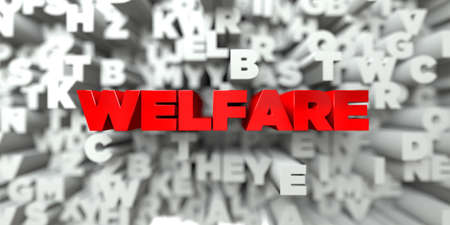 royalty: WELFARE -  Red text on typography background - 3D rendered royalty free stock image. This image can be used for an online website banner ad or a print postcard. Stock Photo