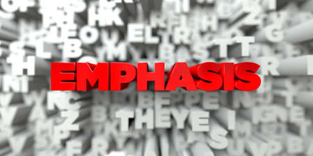 EMPHASIS -  Red text on typography background - 3D rendered royalty free stock image. This image can be used for an online website banner ad or a print postcard. Stock Photo