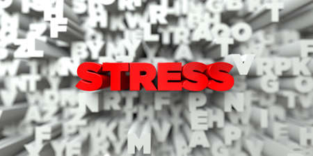 free stock: STRESS -  Red text on typography background - 3D rendered royalty free stock image. This image can be used for an online website banner ad or a print postcard. Stock Photo