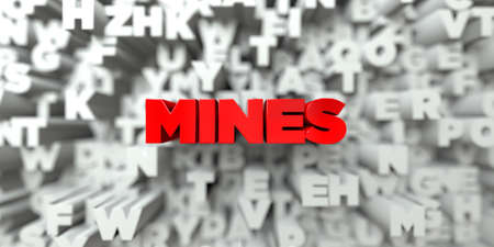 MINES -  Red text on typography background - 3D rendered royalty free stock image. This image can be used for an online website banner ad or a print postcard.