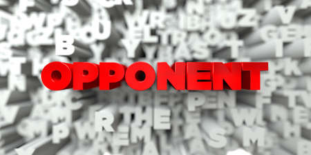 opponent: OPPONENT -  Red text on typography background - 3D rendered royalty free stock image. This image can be used for an online website banner ad or a print postcard. Stock Photo