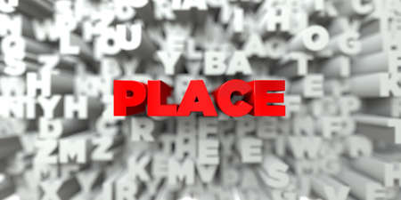 free place: PLACE -  Red text on typography background - 3D rendered royalty free stock image. This image can be used for an online website banner ad or a print postcard. Stock Photo