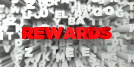 REWARDS -  Red text on typography background - 3D rendered royalty free stock image. This image can be used for an online website banner ad or a print postcard.