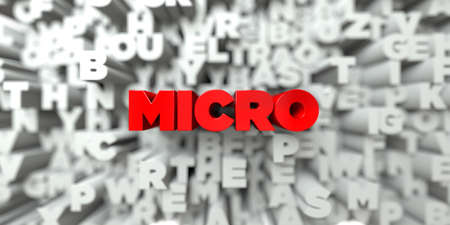 micro print: MICRO -  Red text on typography background - 3D rendered royalty free stock image. This image can be used for an online website banner ad or a print postcard. Stock Photo