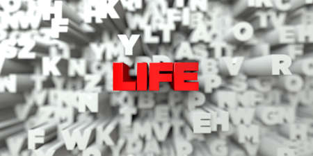 free stock: LIFE -  Red text on typography background - 3D rendered royalty free stock image. This image can be used for an online website banner ad or a print postcard.