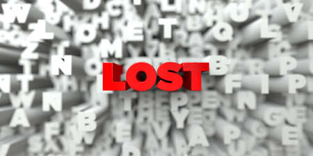LOST -  Red text on typography background - 3D rendered royalty free stock image. This image can be used for an online website banner ad or a print postcard.