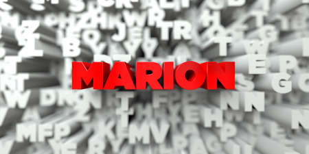 marion: MARION -  Red text on typography background - 3D rendered royalty free stock image. This image can be used for an online website banner ad or a print postcard. Stock Photo