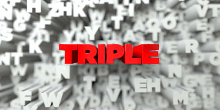 TRIPLE -  Red text on typography background - 3D rendered royalty free stock image. This image can be used for an online website banner ad or a print postcard.