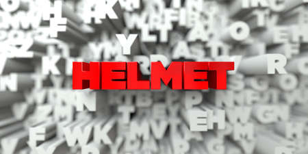 HELMET -  Red text on typography background - 3D rendered royalty free stock image. This image can be used for an online website banner ad or a print postcard.